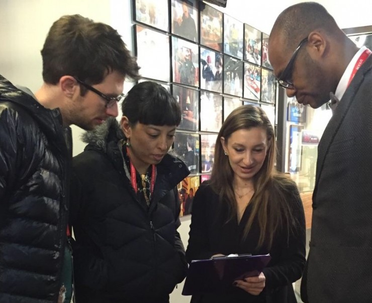 """Susan Szotyori organizing an interview with the filmmakers of """"The Followers"""" at Sundance 2015"""