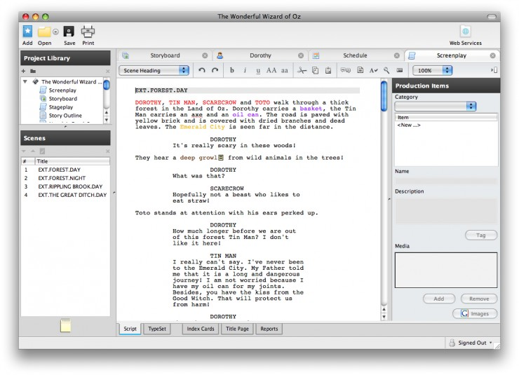 five screenwriting software applications under 50 and free demos