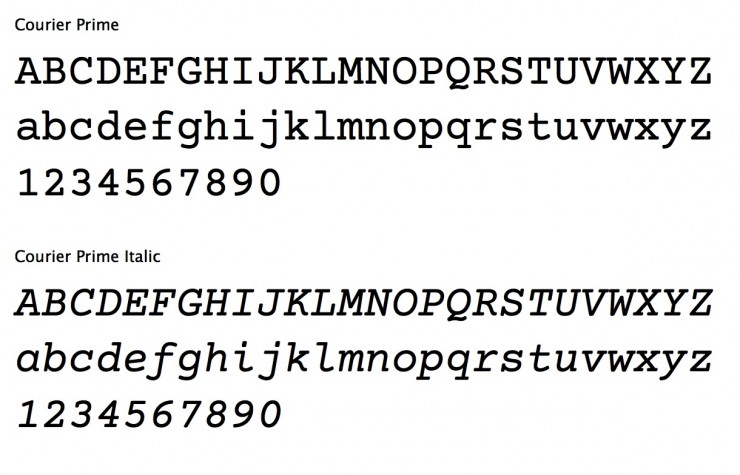 the new screenplay standard font is here courier prime from quote