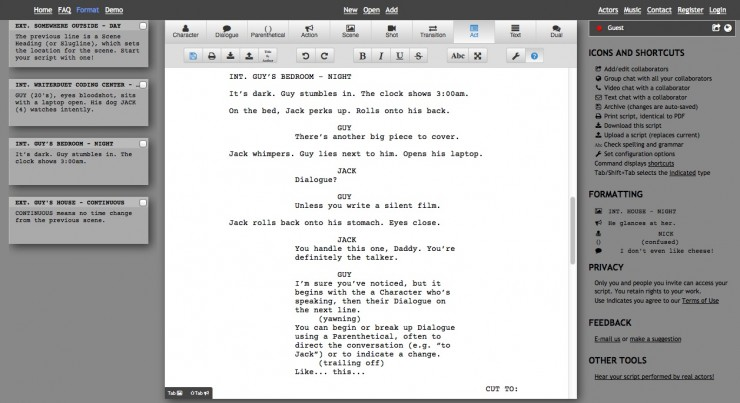 writerduet app lets you collaborate on screenplays online in real