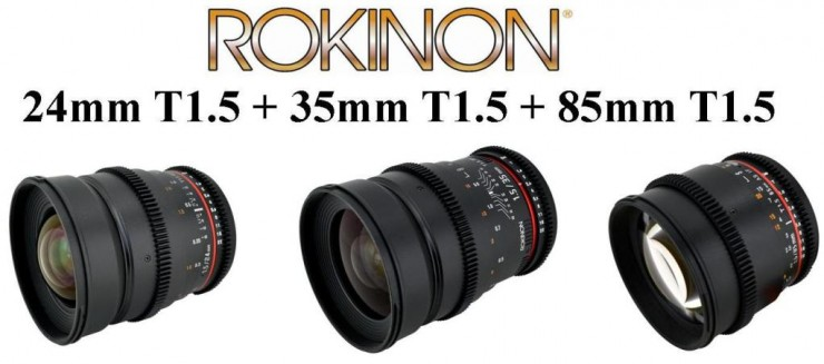 Rokinon 24mm, 35mm, & 85mm T1.5 Cine Lens Set for Canon, Nikon, or ...