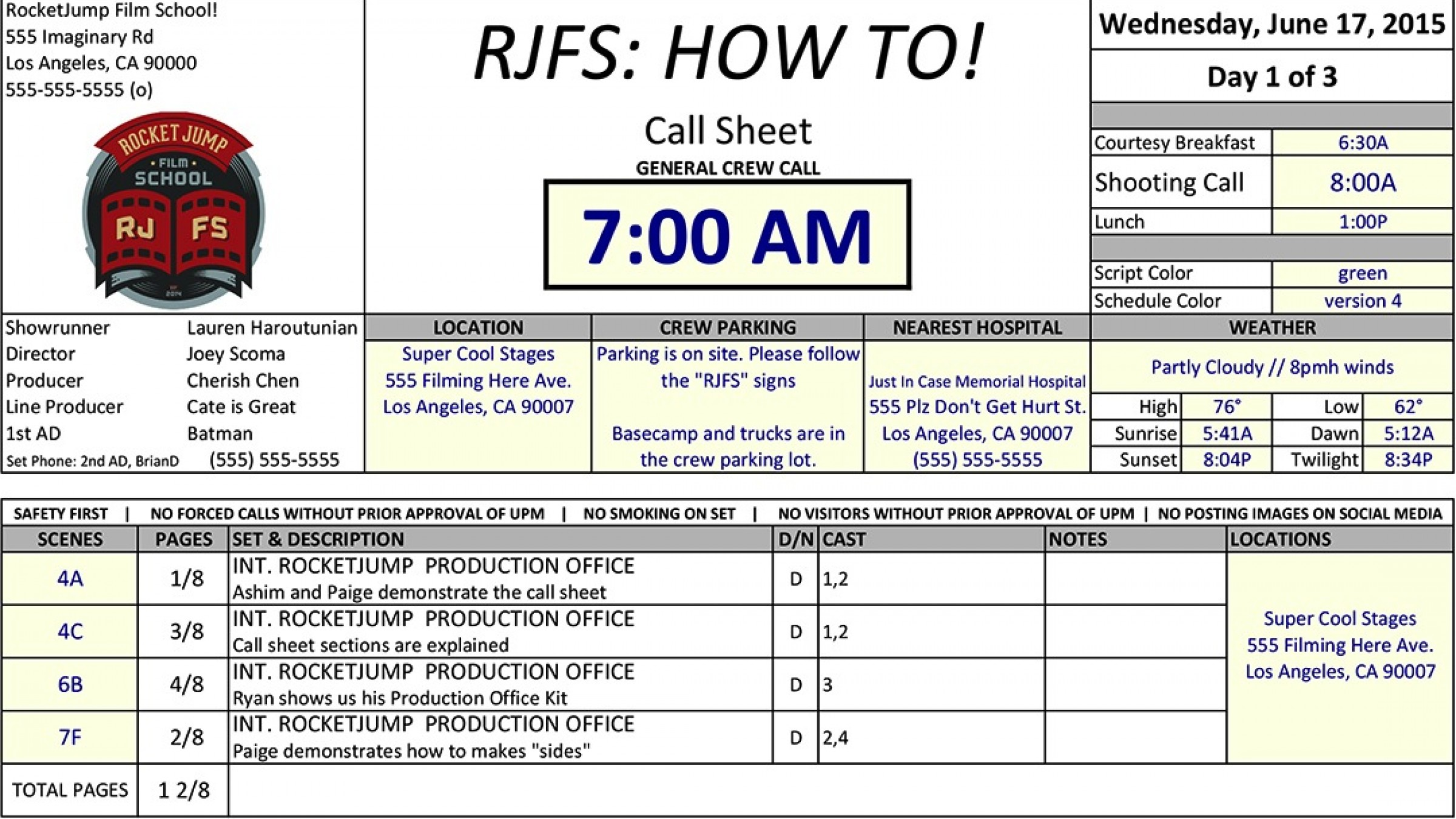Heres a Quick Video Tutorial on How to Read Fill Out a Call Sheet – Call Sheet Template
