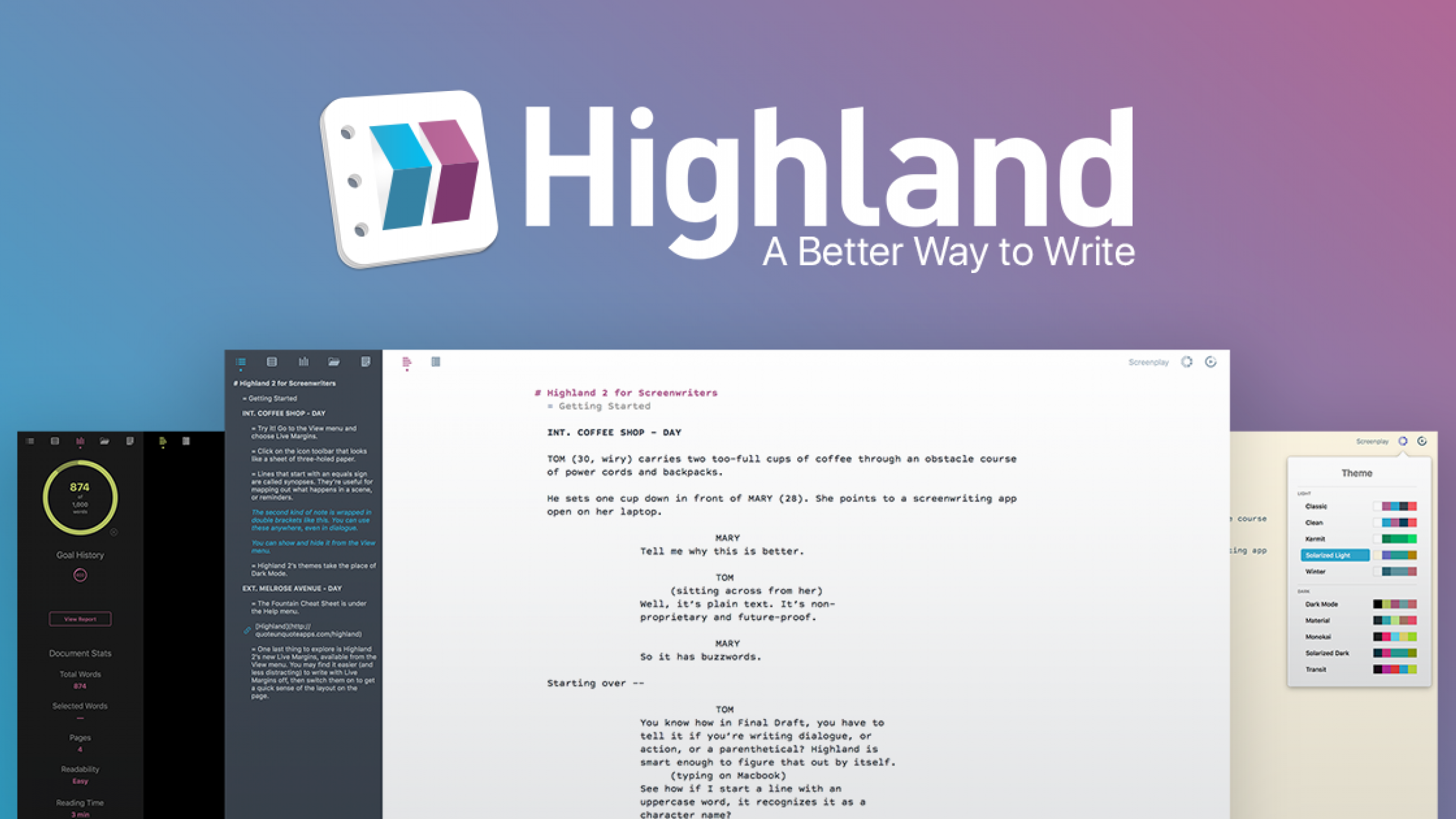 Highland 2: Intuitive Screenwriting Software for Professionals
