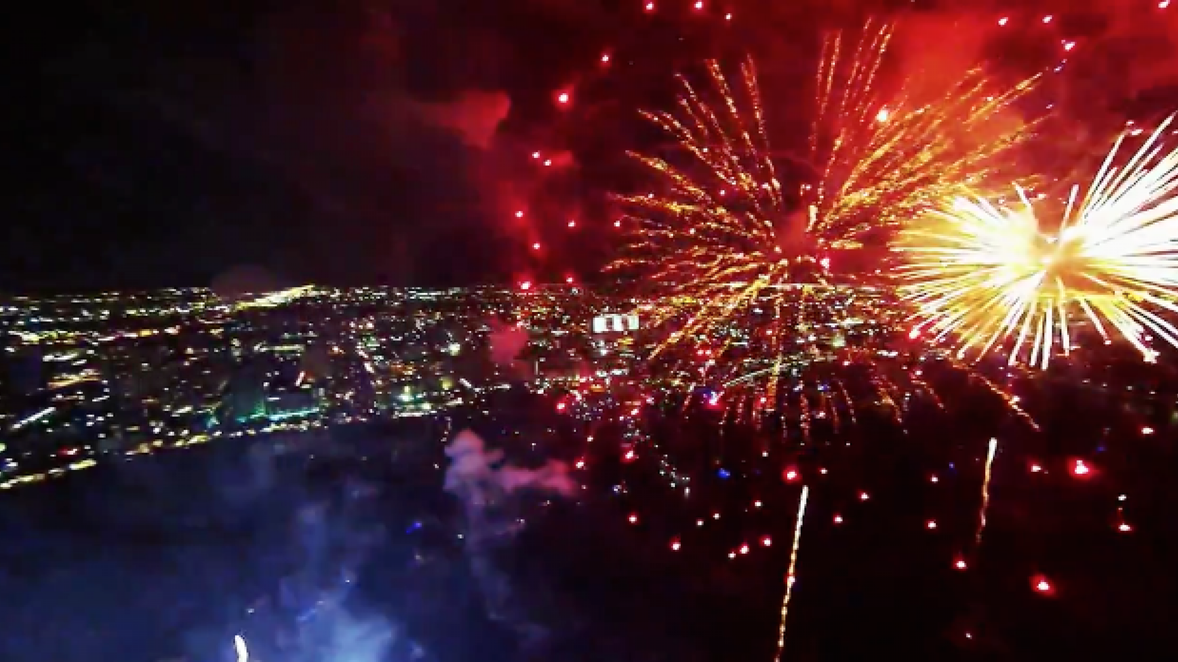this fireworks display filmed with a drone  u0026 a gopro might