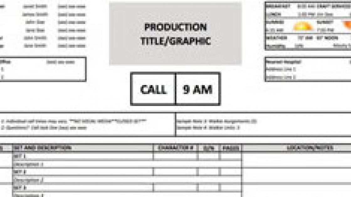 call sheet template excel