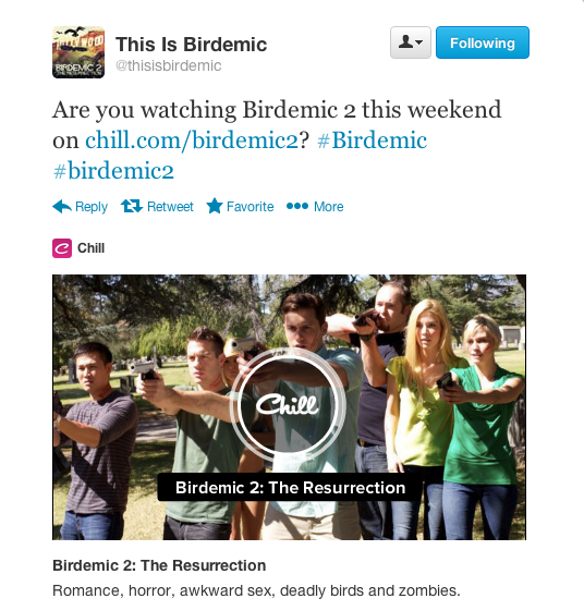Birdemic Media Embed on Twitter Through Chill