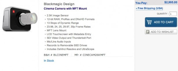 Blackmagic Cinema Camera MFT Shipping