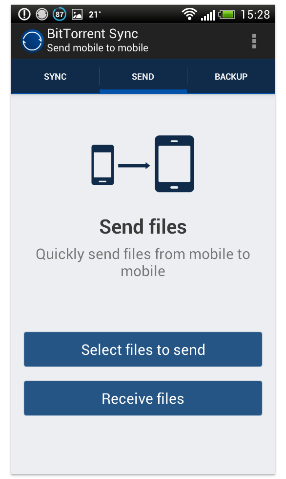 BitTorrent Sync Sending with Android