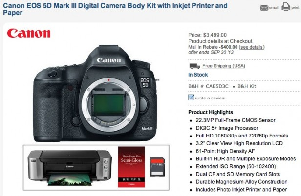 Canon 5D Mark III Mail in Rebate