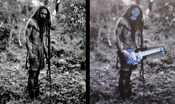Left Photograph by Patrick Cariou from his 2000 book Yes Rasta, right painting from Richard Prince's 2008 Canal Zone series