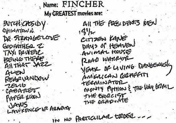 David Fincher's Favorite Movies