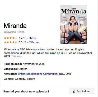 Miranda BBC google now reminder
