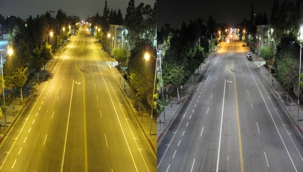 Before and After LED street lighting