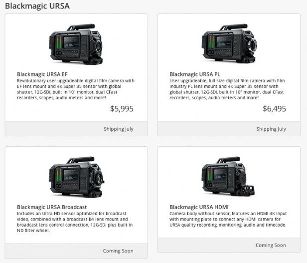 Blackmagic URSA 4K Cameras