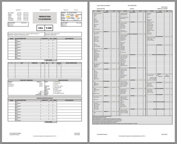 Call Sheet Template Callsheettemplate Download A Free Call Sheet