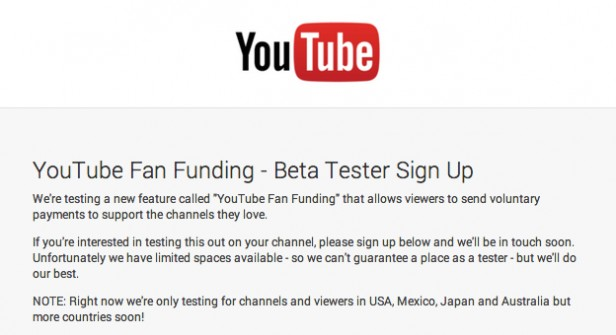YouTube Fan Funding Beta