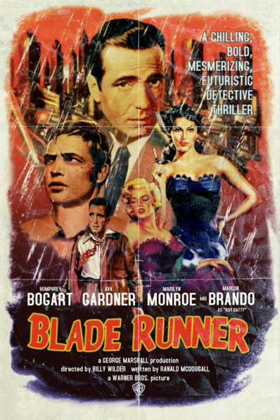 famous movie film poster actor director artist peter stults humphrey bogart marilyn monroe marlon brando blade runner
